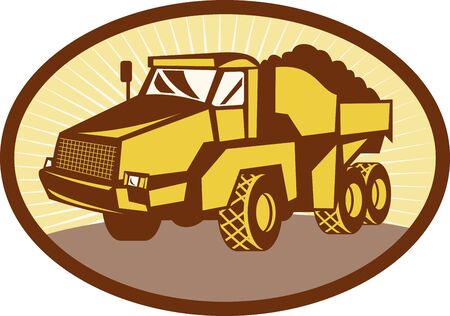 earth mover: illustration of a mining Tipper dumper dump truck or lorry set inside an ovall done in retro woodcut style.