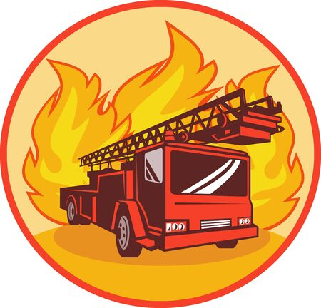 illustration of a Fire truck or engine with flames in background set inside a circle. illustration