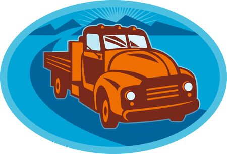 illustration of a Vintage pick-up cargo farm truck done in retro style illustration