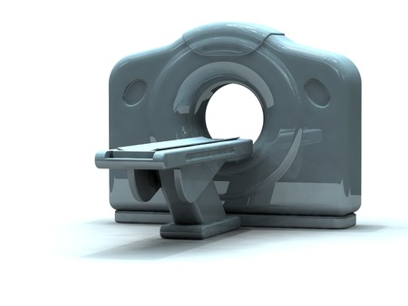 3d render of a computed axial tomography ct or cat scanner. Scans are made by the computation of tomography from X-ray images photo