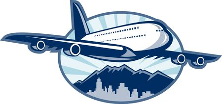 jumbo: illustration of a Jumbo jet plane airliner taking off with city skyline and mountains in the background.