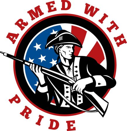 graphic design illustration of an American revolutionary soldier with rifle flag with wording text armed with pride in circle Stock Illustration - 7679787
