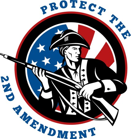 graphic design illustration of an American revolutionary soldier with rifle flag with wording text protect the 2nd amendment Stock Illustration - 7679786
