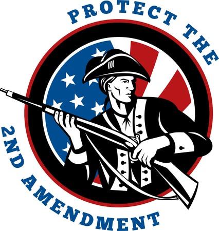 amendment: Ilustraci�n de dise�o gr�fico de un soldado estadounidense de revolucionario con bandera de fusil con texto de redacci�n proteger la segunda enmienda  Foto de archivo