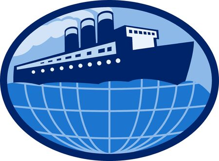 ocean liner:  illustration of an Ocean liner boat ship at sea with globe set inside an ellipse