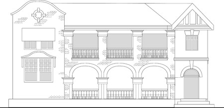 line drawing illustration of a commercial office building or shopping center building viewed from front elevation on white background