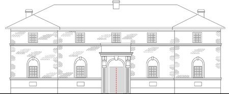 line drawing illustration of a heritage mansion building viewed from front elevation on white background illustration