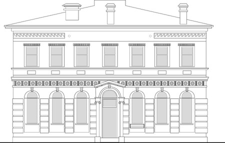 front elevation: line drawing illustration of a heritage mansion building viewed from front elevation on white background