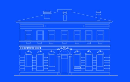 front elevation: line drawing illustration of a heritage mansion building viewed from front elevation on blue background Stock Photo