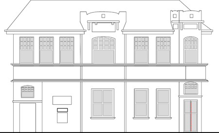 edifice: line drawing illustration of a heritage mansion building viewed from front elevation on white background
