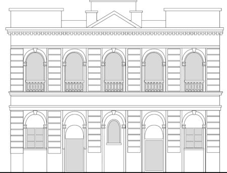 line drawing illustration of a heritage mansion building viewed from front elevation on white background Stock Illustration - 7679799
