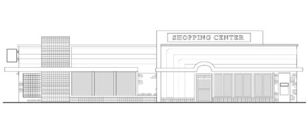 line drawing illustration of a strip mall or shopping center building viewed from front elevation on white background Stock Illustration - 7679789