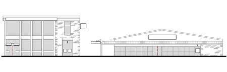 line drawing illustration of a strip mall or shopping center building viewed from front elevation on white background illustration