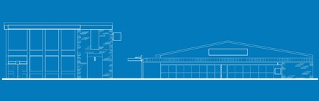 line drawing illustration of a strip mall or shopping center building viewed from front elevation on blue background illustration