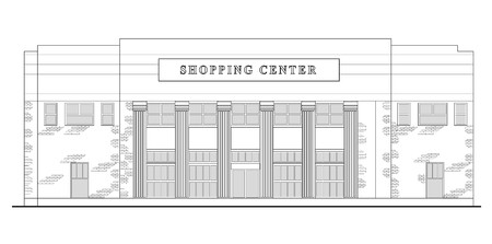 line drawing illustration of a strip mall or shopping center building viewed from front elevation on white background Stock Illustration - 7680544