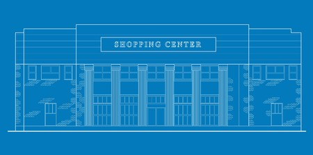 front office: line drawing illustration of a strip mall or shopping center building viewed from front elevation on blue background
