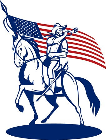 serviceman: illustration of a American cavalry riding horse blowing a bugle and stars and stripes flag in background