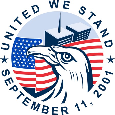 graphic design illustration of 911 memorial showing bald eagle with american flag  and world trade center twin tower building in the background with date September 11, 2001 illustration