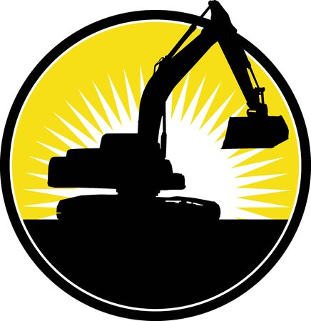 illustration of a Mechanical Digger with sunburst in background Imagens