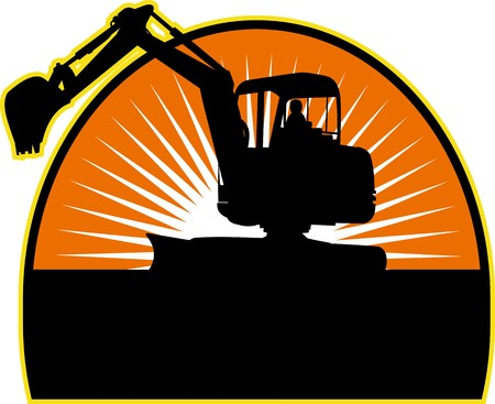 excavator: illustration of a Mechanical Digger with sunburst in background Stock Photo