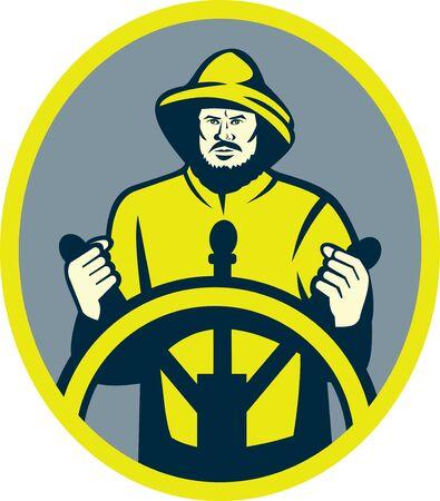 capitan de barco: Ilustraci�n de un capit�n de barco de pescadores en la rueda o el tim�n