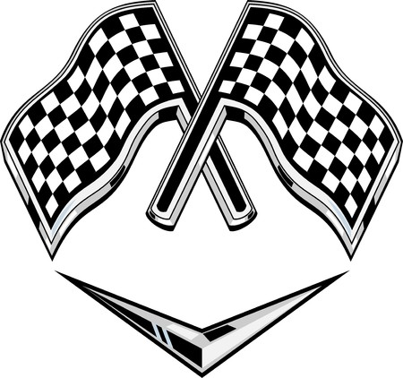racing checkered flag crossed: illustration of two metallic racing checkered flag crossed with chevron Stock Photo
