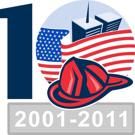 illustration of am unfurled american flag  with world trade center twin tower building in the   background and firefighter helmet illustration