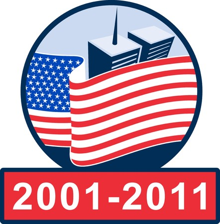 building trade: illustration of am unfurled american flag  with world trade center twin tower building in the   background with 2001-2011 ten year anniversary.