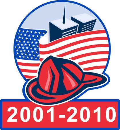 world trade center: graphic design illustration of 911 memorial showing american flag  with world trade center twin tower building in the background and fireman helmet Stock Photo