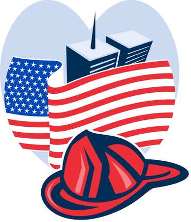 world trade center: illustration of am unfurled american flag  with world trade center twin tower building in the   background set inside heart