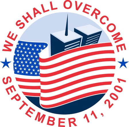 building trade: illustration of am unfurled american flag  with world trade center twin tower building in the   background with text we shall overcome.