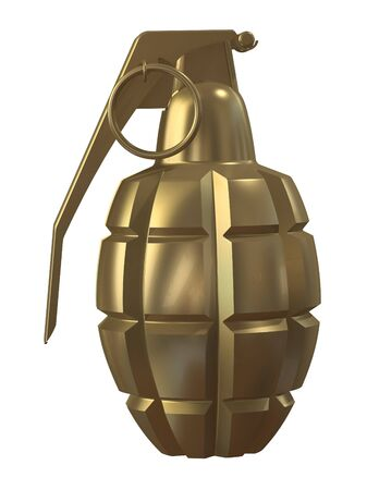 3d render of a fragmentation hand grenade MK2 isolated on white background Stock Photo - 7680404