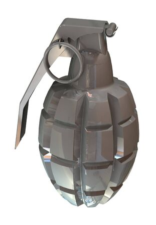 3d render of a fragmentation hand grenade MK2 isolated on white background photo