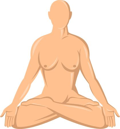 illustration of a female human anatomy yoga lotus  isolated on whte illustration
