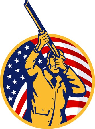 illustration of a Hunter with shotgun  rifle and stars and stripes flag in background Stock Illustration - 7680491