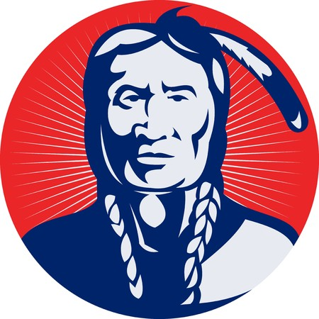 indian brave:  illustration of a native american indian chief facing front view.