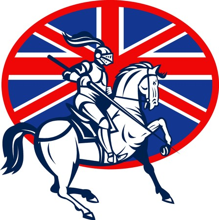 lance: illustration of a Knight on horse with lance and British or great Britain flag