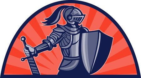 crusader: illustration of a Knight with sword and shield facing side with sunburst in background done in retro style