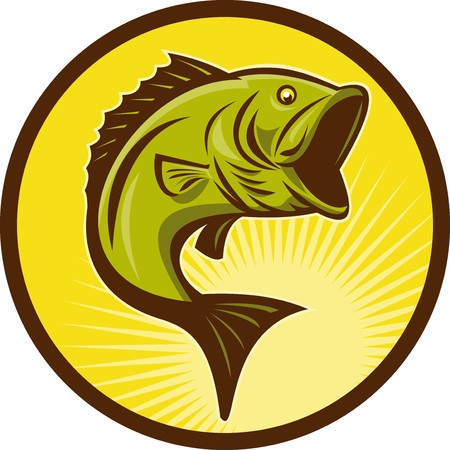 bass fish: illustration of a Largemouth Bass fish jumping done in retro woodcut style
