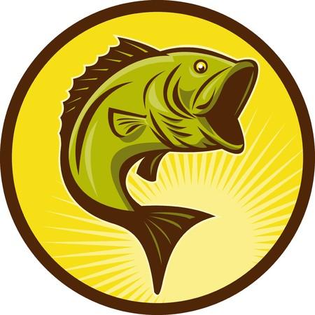 largemouth bass: Ilustraci�n de un salto de pescado de Bass Micropterus hecho con estilo retro xilograf�a