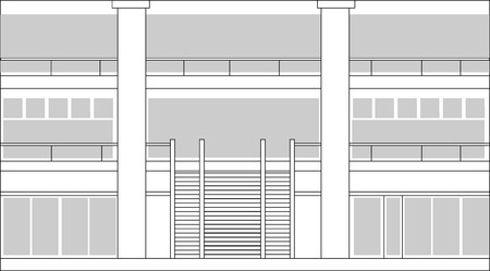 line drawing of an interior lobby of a building or shopping center done in black and white photo