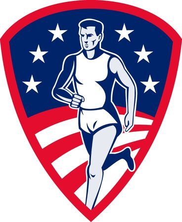 long distance: illustration of an American Marathon athlete sports runner with stars and stripes and set in shield done in retro style.
