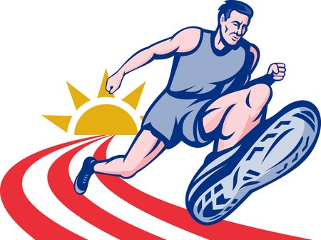 road runner: illustration Marathon runner on track with sunburst viewed from an extremely low angle.