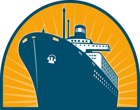 hull:  illustration of an Ocean passenger liner boat ship at sea viewed from low angle done in retro style