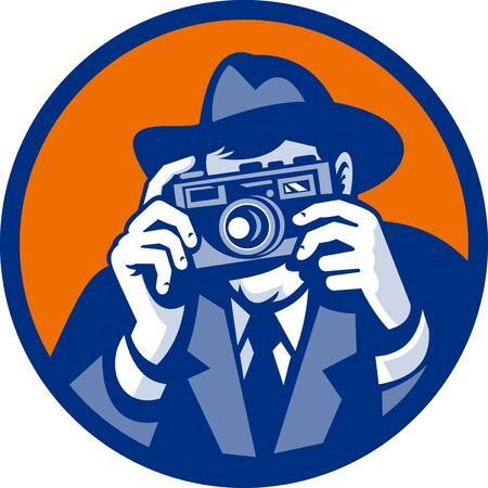 fedora: illustration of a Photographer with fedora hat aiming retro slr camera done in retro style Stock Photo
