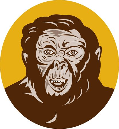 illustration of a Prehistoric man head facing front Stock Illustration - 7680435