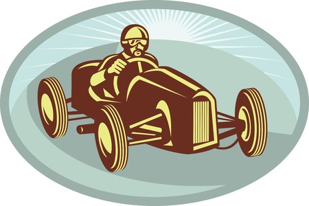 race car driver: illustration of a Race car driver racing with sunburst in background done in retro style.