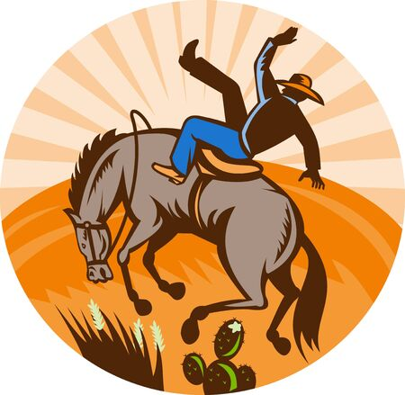 bronco: illustration of a cowboy falling off horse in the desert done in retro woodcut style.