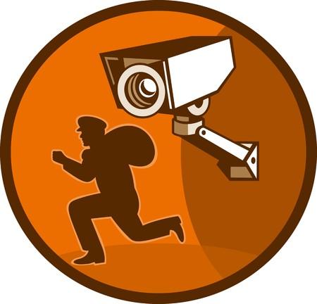 illustration of a burglar thief running with Security surveillance camera illustration
