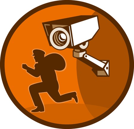 loot: illustration of a burglar thief running with Security surveillance camera